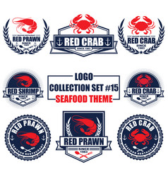 Logo collection set with seafood restaurant theme vector