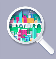 Magnifying glass with city elements inside vector