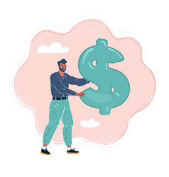 man holding a giant dollar vector image