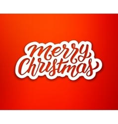 Merry Christmas text on white paper label vector image