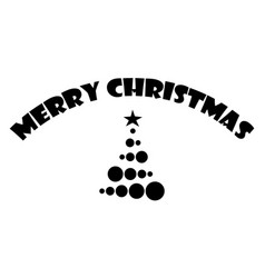 merry christmas text with christmas tree isolated vector image
