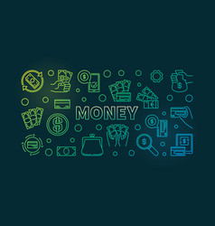 money colorful banner on dark vector image