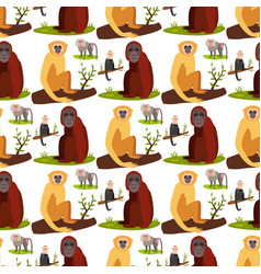 Monkey character animal breads seamless pattern vector