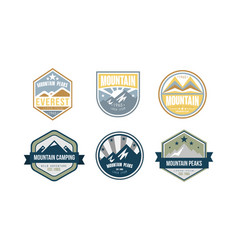 mountain peaks logo design set camping hiking vector image