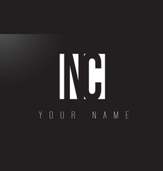 Nc letter logo with black and white negative vector