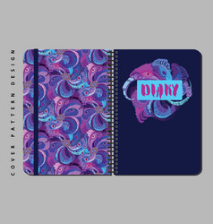 Notebook and diary cover design for print with vector