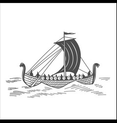 old boat with warriors vector image