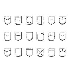Patch pocket clothes pouches with flaps buttons vector
