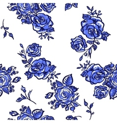 pattern blue rose vector image vector image
