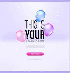 Promo landing page template with air balloons and vector