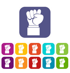 Raised up clenched male fist icons set vector