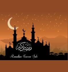 Ramadan kareem sale with mosque silhouette at nigh vector