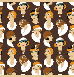 retro girl portraits 1920s vector image