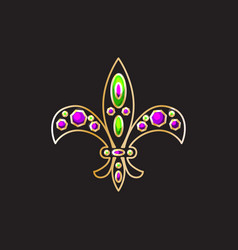 Royal fleur-de-lis with gems and gold contour vector