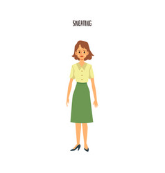 Sad cartoon woman sweating - isolated female vector