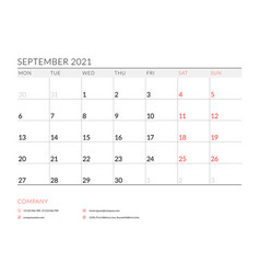 September 2021 monthly calendar planner printable vector
