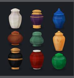 Set ash or cremation urns vector