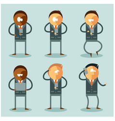 set flat business men and their phones vector image