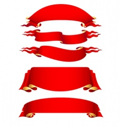 set of 5 red ribbon vector image