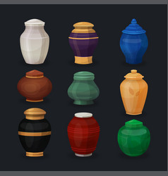 set of ash or cremation urns vector image