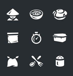 Set of instant noodles icons vector