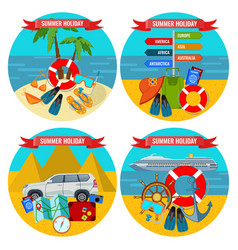 Set of summer holidays posters travelling by land vector