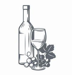 sketch of wine vector image