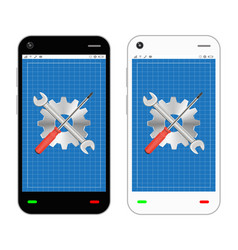 smartphone with screwdriver wrench and gear repair vector image