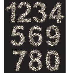 Sparkling number set made of shining stars from vector image