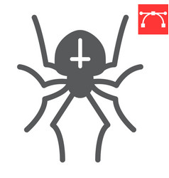 Spider glyph icon halloween and scary arachnid vector