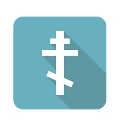 Square orthodox cross icon vector