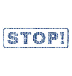 stop exclamation textile stamp vector image