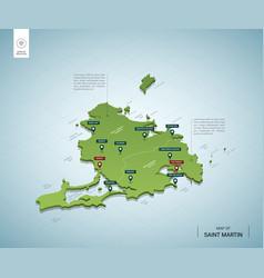 Stylized map saint martin isometric 3d green vector