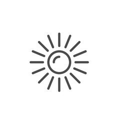 Sun line outline icon and light object vector