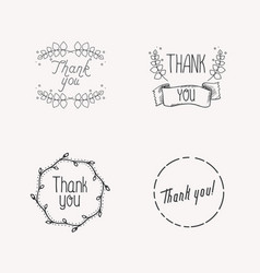 thank tou concept with leaves for online shop vector image