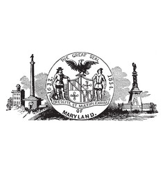 The seal of colonial maryland a british colony in vector