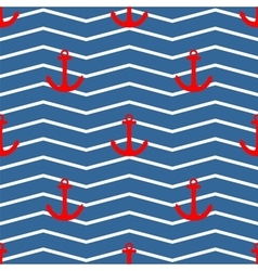 Tile sailor pattern red anchor on white and blue vector