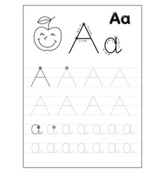 Tracing alphabet letter a black and white vector