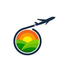 Travel farm logo icon design vector