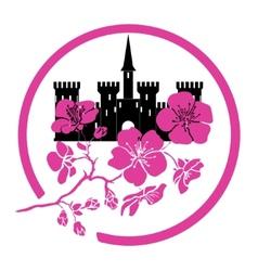 twig sakura blossoms and castle Logo vector image