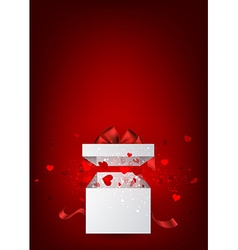 Valentines background with gift vector image