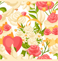 wedding seamless pattern marriage background vector image