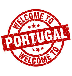 Welcome to portugal red stamp vector