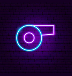 whistle neon sign vector image