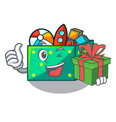 with gift kids toys in the cartoon box vector image