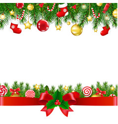 Xmas borders with ribbon vector