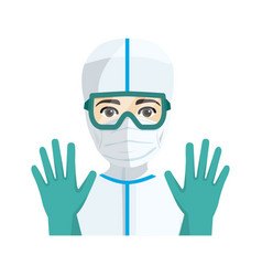 Young male doctor with sanitary protection vector