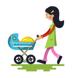 Young mother with baby on pram lady cartoon vector