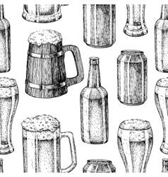 Beer seamless pattern Beer glass mug vector image vector image
