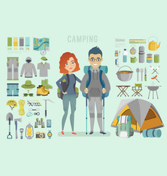 camping infographic young couple ready for vector image
